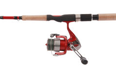 Fishing rod with a reel (Clipping path) Stock Image
