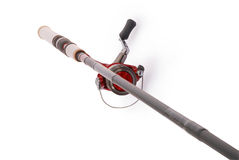 Fishing rod with a reel (Clipping path) Stock Images