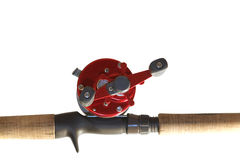 Fishing rod. And reel isolated on white background Royalty Free Stock Photos
