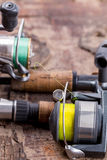 Fishing rod and reel with line Royalty Free Stock Images