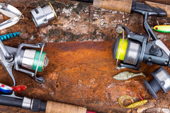 Fishing rod and reel with line Royalty Free Stock Photography