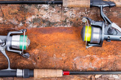 Fishing rod and reel with line Stock Photo