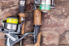 Fishing rod and reel with line Stock Image