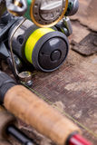 Fishing rod and reel with line Stock Photography