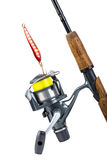 Fishing rod and reel with line Stock Images