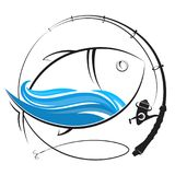 Fishing rod silhouette and fish. Fishing rod with reel silhouette and fish Royalty Free Stock Images