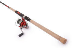 Fishing rod with a reel. (Clipping path) Stock Image