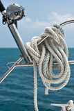 Fishing rod and reel on a yacht Stock Photos