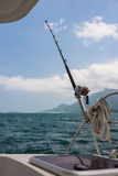 Fishing rod and reel on a yacht Stock Images