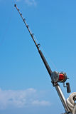 Fishing rod and reel on a yacht Stock Image