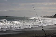 Fishing rod at sea shore Royalty Free Stock Photos
