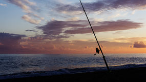Fishing rod silhouette Royalty Free Stock Photo