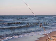 Fishing-rod with spinning-wheel Royalty Free Stock Image