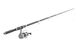 Fishing rod spinning  on white background. 3d image rend Royalty Free Stock Images