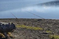 Fishing rod of stand by dam Iskar in wintertime, Pancharevo Stock Photos
