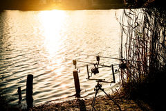 Fishing rod. In the sunset at the lake Stock Photo