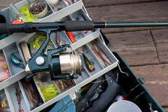 Fishing Rod and Tackle Box Royalty Free Stock Photo
