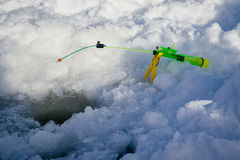 Fishing rod for winter fishing Stock Photos