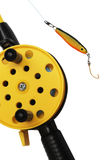 Fishing rod with yellow reel Stock Images