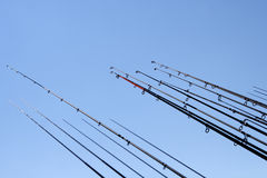 Fishing rods. On blue sky background Royalty Free Stock Photography