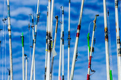 Fishing rods against the sky. Images taken while on a Fishing trip in Bar Harbor Maine USA stock images