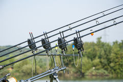 Fishing rods with bait alarm stock images