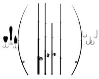 Fishing rods. Different rods for fishing hooks and blёsna on a white background stock illustration