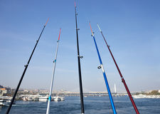 Fishing rods on the Galata Bridge Royalty Free Stock Image