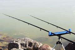 Fishing rods at Lake Balaton Royalty Free Stock Photo