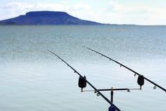 Fishing rods at Lake Balaton Stock Images