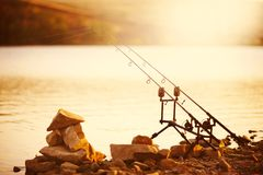 fishing rods on the lake Royalty Free Stock Image