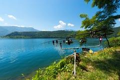 Fishing Rods - Levico Lake Trentino Italy Royalty Free Stock Photos