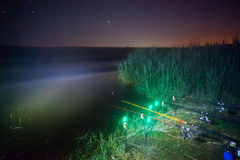 Fishing rods at night Stock Photo