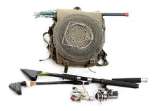 Fishing rods with reels and landing net. Stock Photography