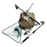 Fishing rods with reels and landing net. Fishing rods with reels and landing net on a white background royalty free stock photos