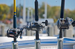Fishing rods and reels Royalty Free Stock Photo