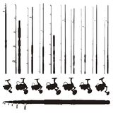 Fishing rods and reels. Set of fishing rods and reels silhouettes isolated on white background Stock Photography