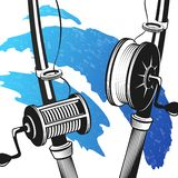 Fishing rods for fishing. Fishing rods silhouettes and blue waves for fishing vector illustration