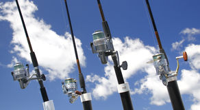 Fishing Rods with Spinning Reels Stock Images