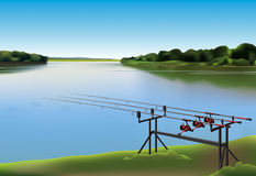 Fishing rods. Three fishing rods beside the lake vector illustration