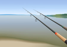 Fishing rods. Two fishing rods on the riverbank vector illustration