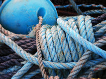 Fishing rope with cork and knot Stock Photos