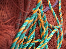 Fishing ropes and nets. Close up view of fishing ropes and nets Royalty Free Stock Images