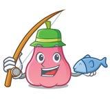 Fishing rose apple mascot cartoon. Vector illustration Stock Photos