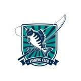 Fishing round icon for fisherman sport club emblem Stock Photos