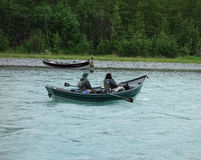 Fishing on the russian river in the spring Royalty Free Stock Images