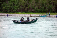 Fishing for salmon in alaska Stock Photo