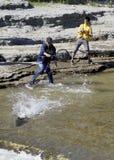 Fishing for Salmon on the Ganaraska River Royalty Free Stock Image
