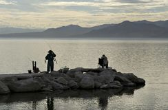Fishing at the Salton Sea Stock Photo