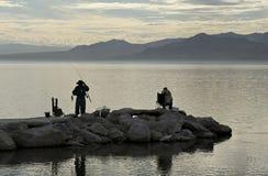Fishing at the Salton Sea. Fishing the Salton Sea California stock photo
